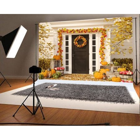 GreenDecor Polyster 7x5ft Thanksgiving Day Backdrop Golden Leaves Vine Pimpkins Red Apples Lantern Galand Rustic Wood Plank Autumn Photography Background Kids Children Adults Photo Studio Props
