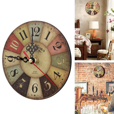 Retro Arabic Tuscan Number Wooden Colorful Wall Clock Quartz, Silent Non-Ticking, Battery Operated(not included), Rustic Decorative for Kitchen,Living Room,Bathroom Kids Room, Coffee Decor (4.72
