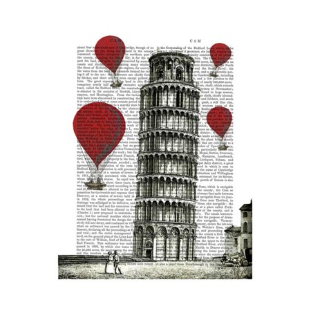 Tower of Pisa and Red Hot Air Balloons Print Wall Art By Fab - Balloon Towers