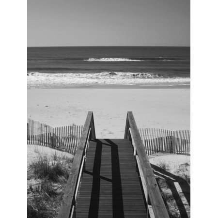 New York, Long Island, the Hamptons, Westhampton Beach, Beach View from Beach Stairs, USA Coastal Landscape Black and White Photography Print Wall Art By Walter