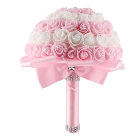 Bridal Wedding Bridesmaid Romatic Rose Holding Bouquet Artificial Flower Pink