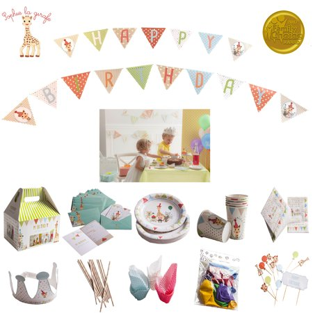 Jungle Animal Cupcakes - Sophie La Girafe Kids Birthday Party Decorations For 12 Children's Paper Goods Jungle Animal Set Paper Plates Cups Napkins Utensils Invitations Banner Balloons Cake/Cupcake Toppers Crown 110 Piece Kit