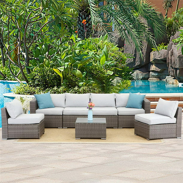 7 Piece Outdoor Furniture Set,Wicker Sectional Sofa with Sophisticated Glass Coffee Table,Upgrade Gray Cushion