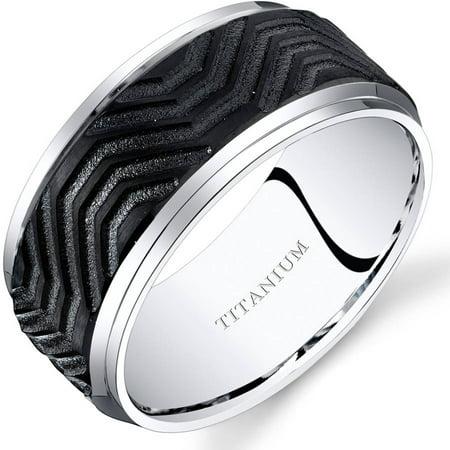 Men's 10mm Black Wave Pattern Comfort Fit Wedding Band Ring in Titanium Black Titanium Tension Rings