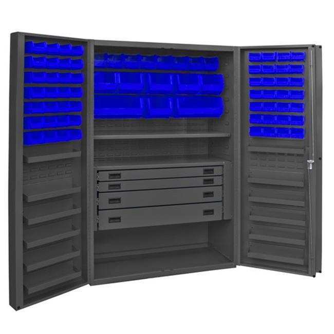 14 Gauge 12 Door Shelves Lockable Cabinet with 72 Blue Hook on Bins & 1 Adjustable Shelf & 4 Drawers, Gray - 48 x 24 x 72 in.