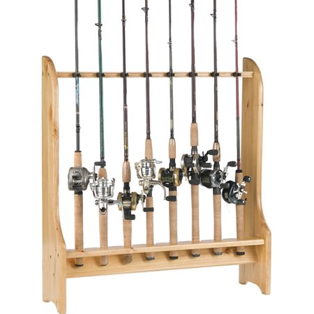 Organized fishing 8 rod floor rack for Walmart fishing pole holder