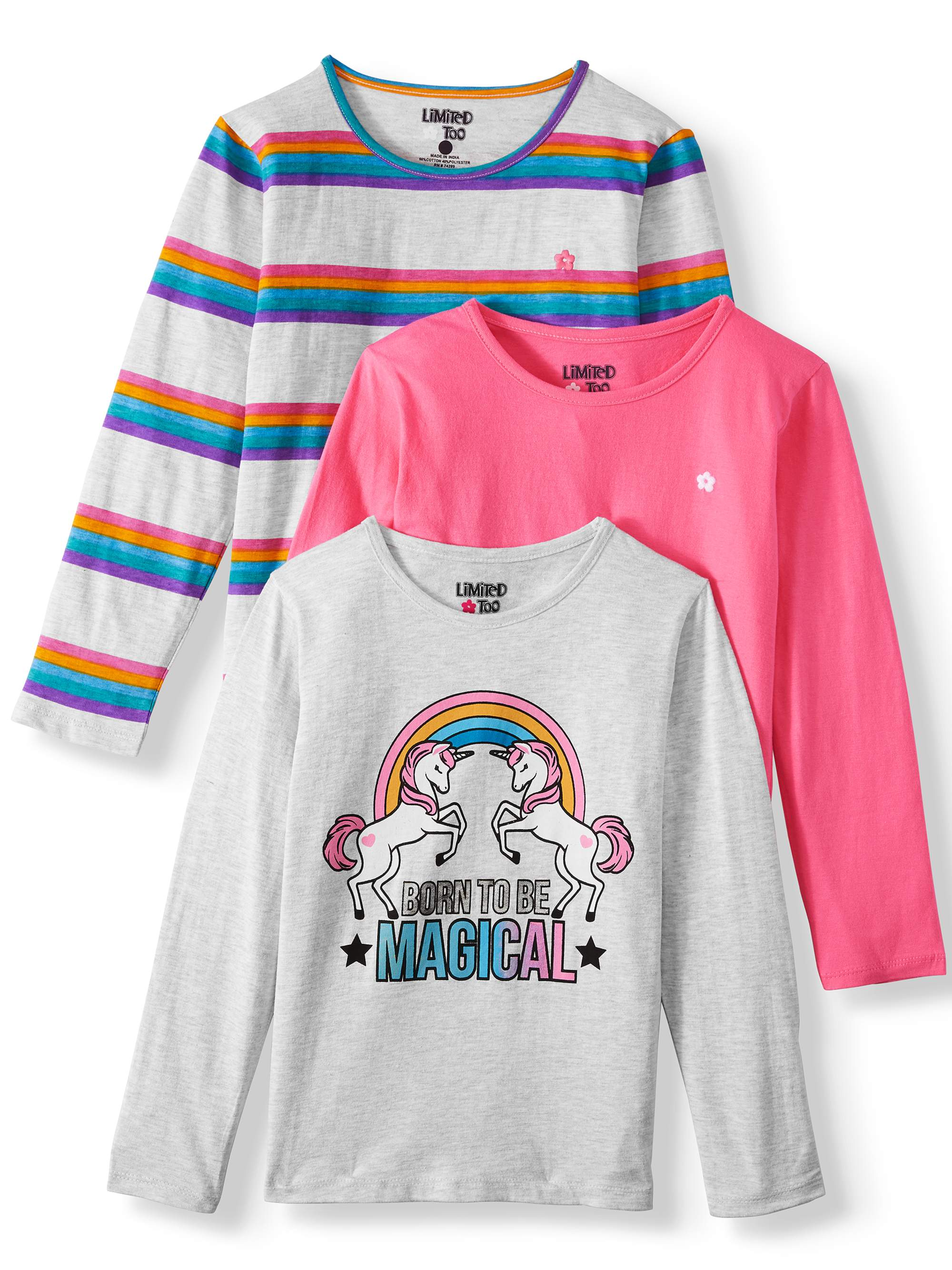 Limited Too Girls Short Sleeve Graphic Fashion T-Shirt 3 Pack