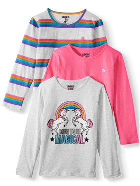 Limited Too Unicorn Graphic, Stripe & Solid Long Sleeve T-Shirt, 3-Pack (Little Girls & Big Girls)
