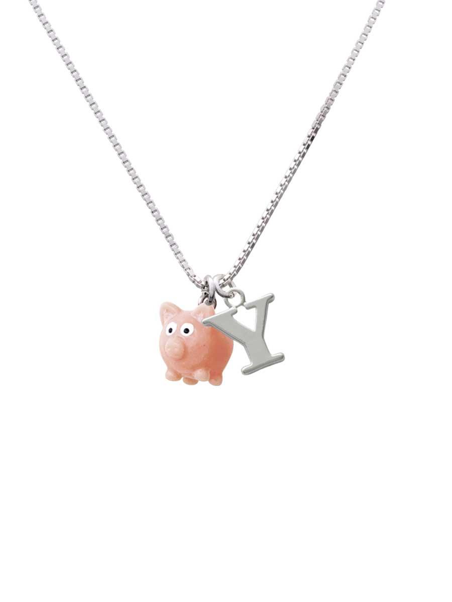 Resin Pink Pig Custom Engraved Name Ring Crystal Necklace