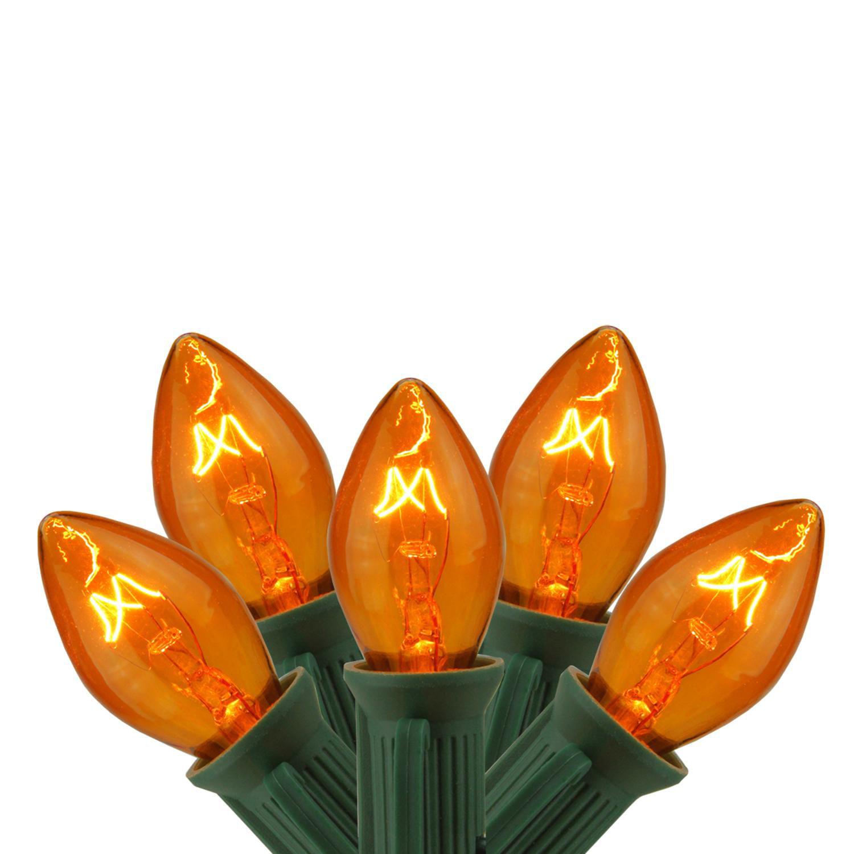 C7 Christmas Lights.Set Of 25 Transparent Orange C7 Christmas Lights 12 Spacing Green Wire