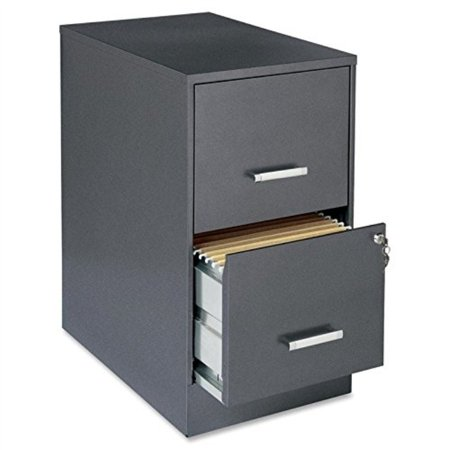 "Lorell Office Dimensions 22"" Deep 2 Drawer Letter-Sized Metal File Cabinet, Metallic Charcoal (16871)"