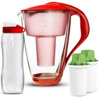 Dafi Alkaline UP Crystal Water Pitcher 8 Cups Red + 2 Alkaline Up Filters + Bidon BPA-Free