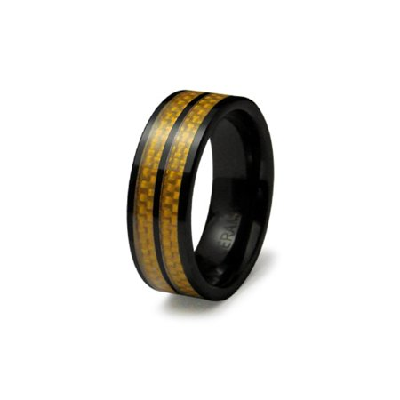 Black Ceramic Dual Yellow Carbon Fiber Inlay Strip Wedding Band Ring