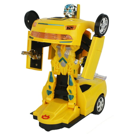 Bump and Go Battery Operated Transforming Action Combat Robot Yellow Chevy Coupe Sports Car with Lights, Sounds, Drives