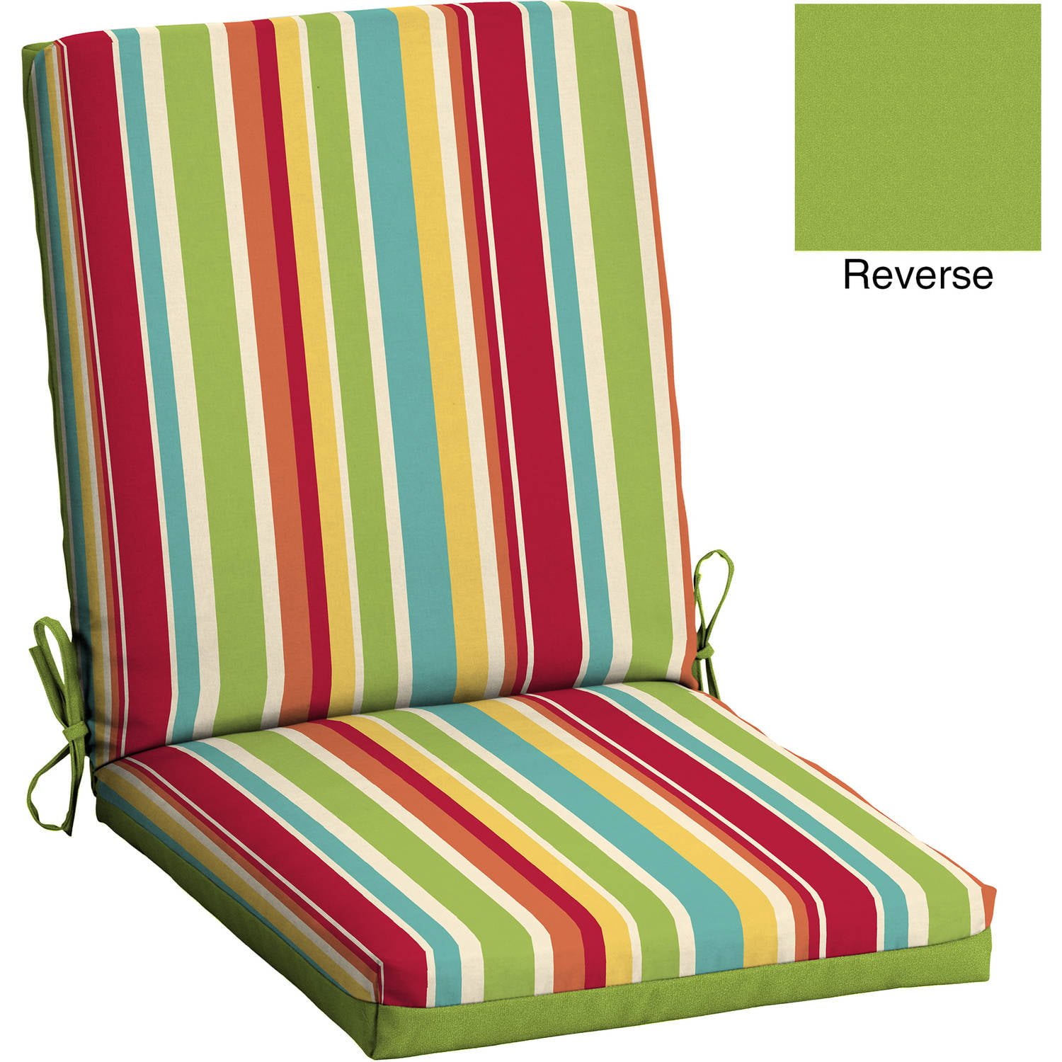 Mainstays Outdoor Patio Reversible Dining Chair Cushion, Multi Stripe - Outdoor Chair Cushions