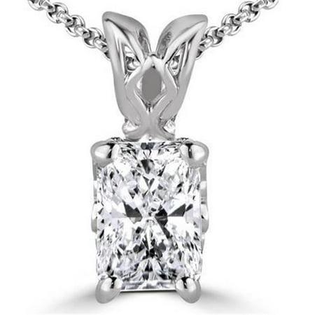 Harry Chad Enterprises 19859 1.50 CT Radiant Cut G VS2 Prong Set Diamond Pendant Necklace - 14K Gold White - image 1 de 1