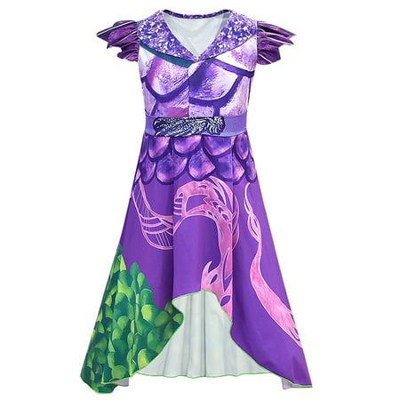 Audrey Dragon Mal Popular Musical Costume Cosplay Dress Girls Kids Party XMAS