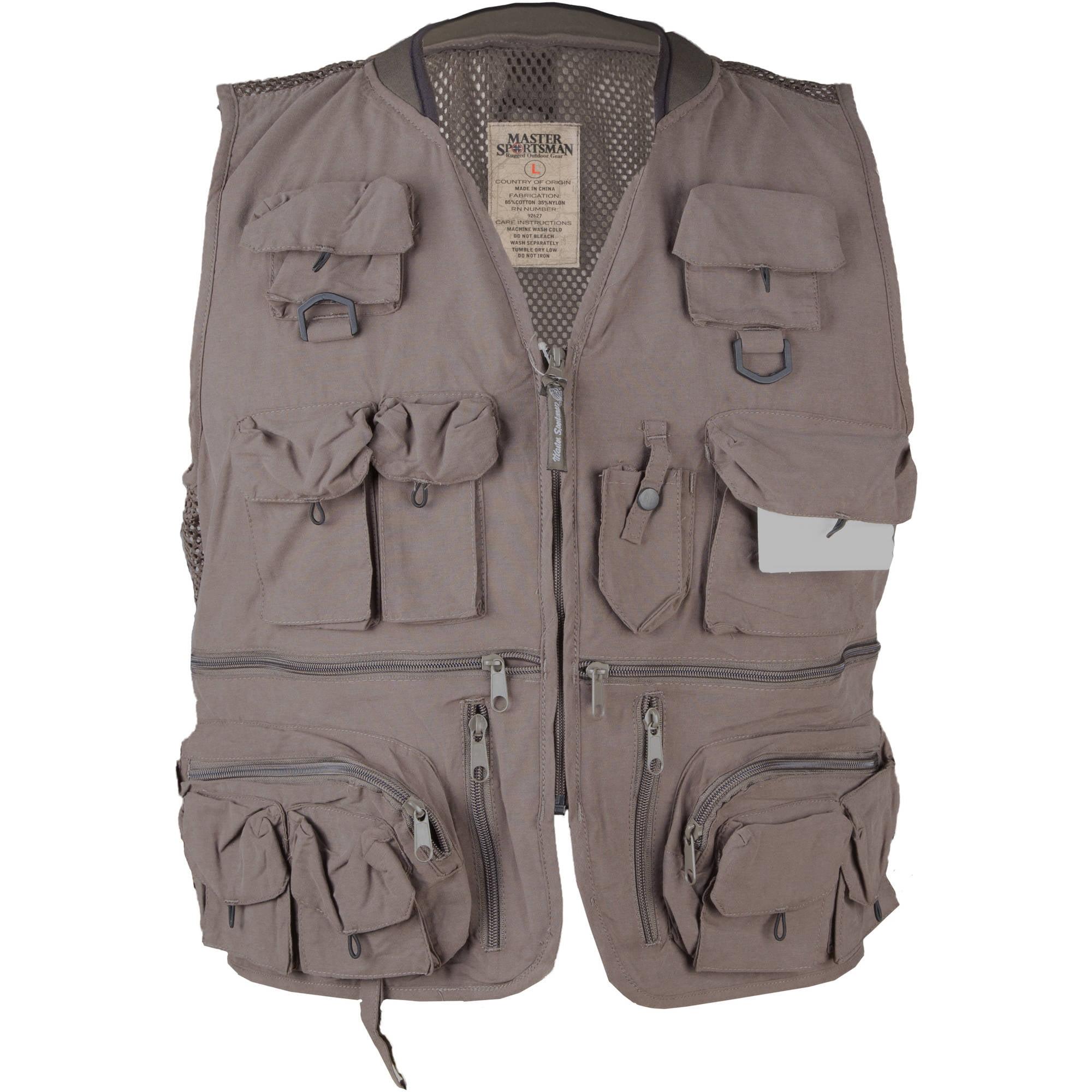 Master Sportsman Alpine 27-Pocket Mesh-Back Fishing Vest, Olive, 3XL by
