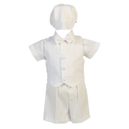Baby Boys White Cotton Plaid Vest Hat Shorts Christening Outfit Set 18-24M