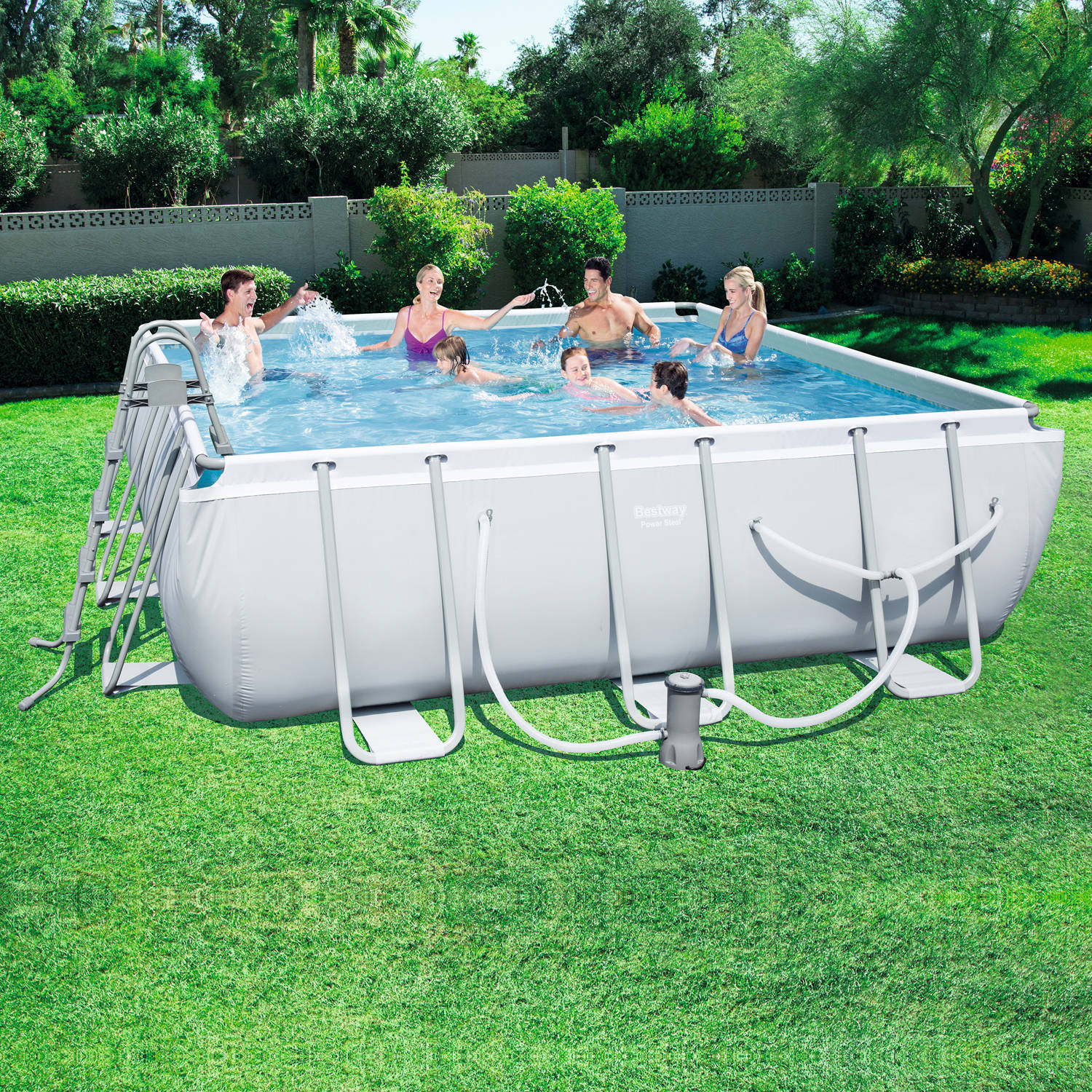 power steel 14 x 14 x 48 square frame swimming pool walmartcom
