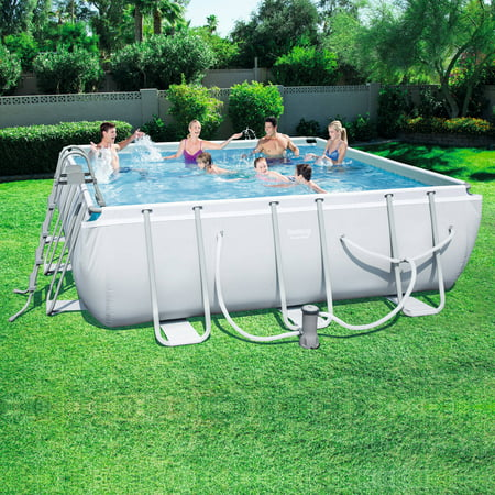 Bestway Power Steel 14 X 14 X 48 Square Frame Swimming Pool Set