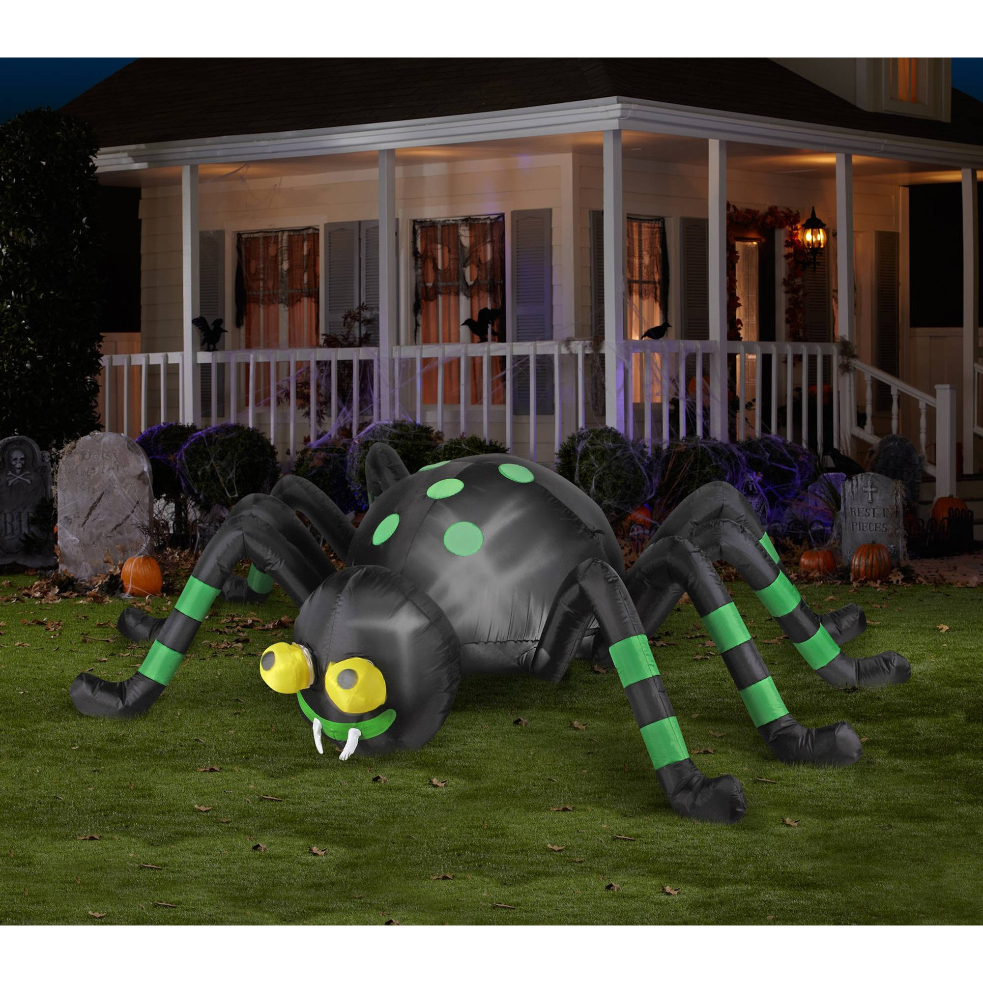 Animated Airblown Green Striped Spider