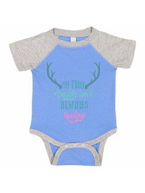 "Adorable Deer Baseball Bodysuit Raglan ""I'm Proof Daddy Isn't Always Hunting"" Funny Hunting Newborn Shirt Gift - Baby Tee, 0-3 months, Blue & Grey Short Sleeve"