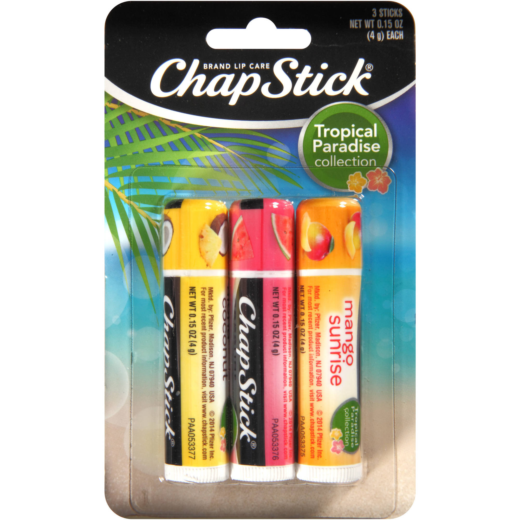 ChapStick Tropical Paradise Collection Lip Balm Variety Pack, .15 oz, 3 count