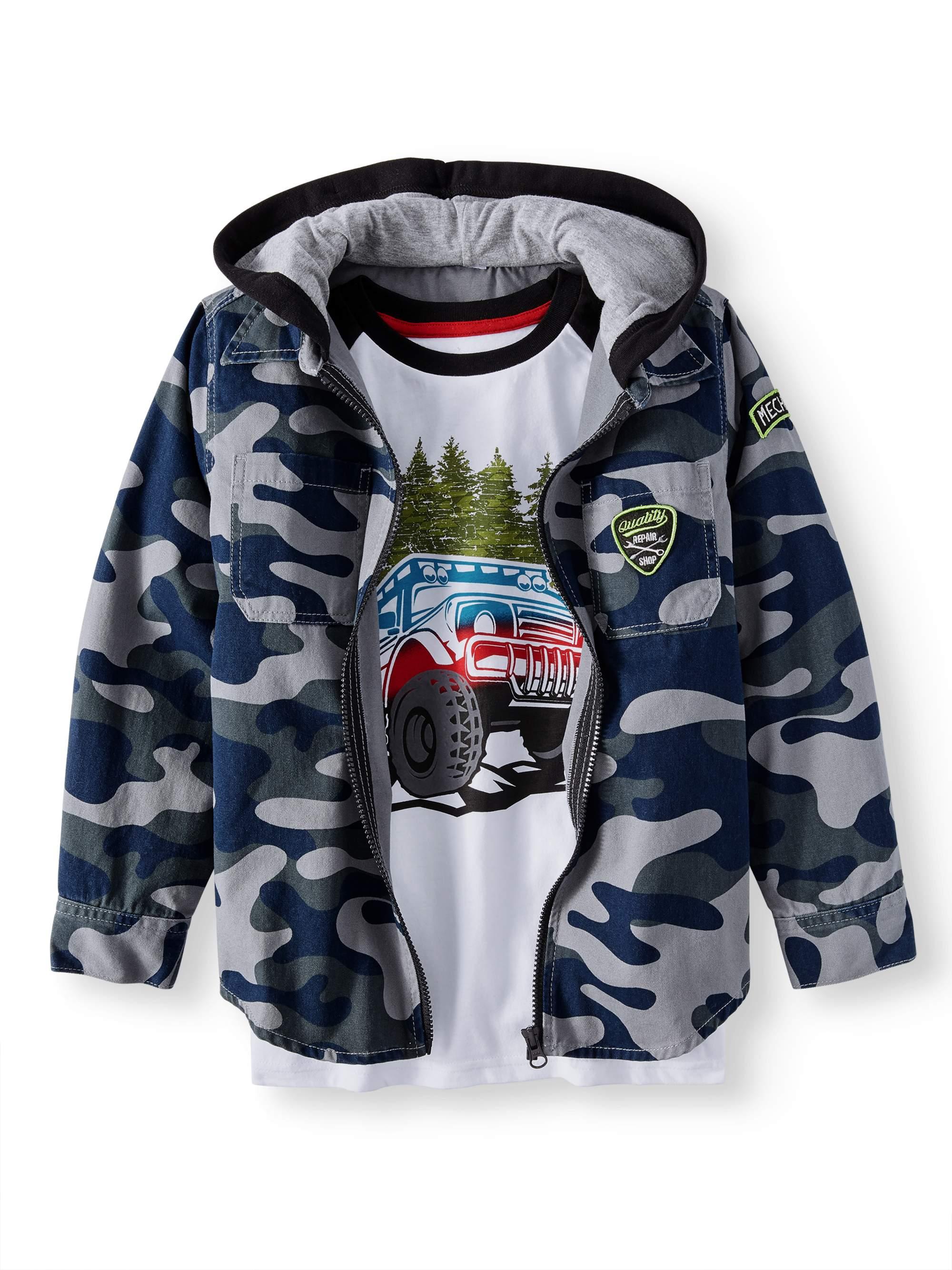 Wonder Nation Shirt Jacket With Graphic Tee 2 Piece Set (Little Boys & Big Boys)