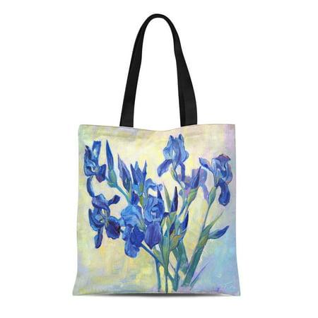 ASHLEIGH Canvas Tote Bag Fleur De Lis Beautiful Oil Painting of Irises Flowers Durable Reusable Shopping Shoulder Grocery (Fleur De Lis Iris)
