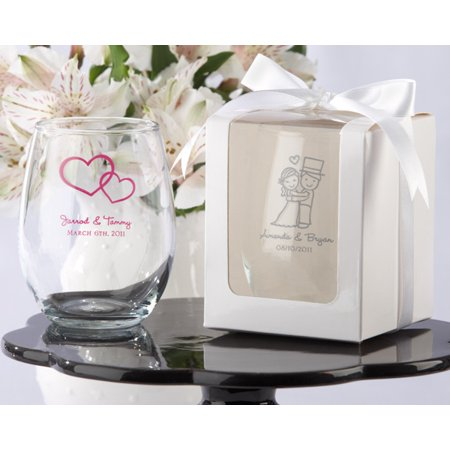 Gift Glass - Kate Aspen Gift Boxes for Stemless Wine Glass, 9-Ounce, White, Set of 12
