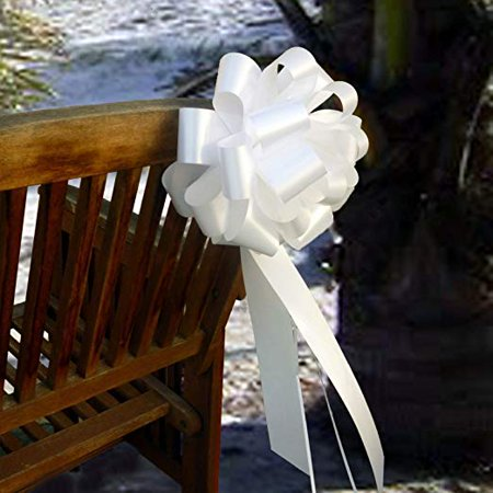 Big Decorative White Ribbon Pull Bows with Tails - 9