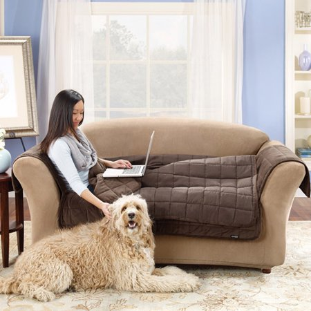 Sure Fit Deluxe Sofa Throw Cover In Sable 50 Backdrop