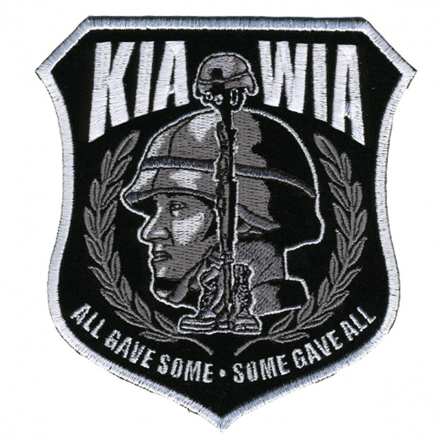 "All Gave Some; Some Gave All, High Quality Iron-on / Saw-on Rayon Military Kia Mia PATCH - 4"" X 4"""