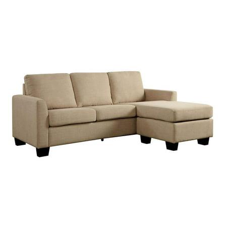 Linen Like Fabric Corner Sleeper Sofa With L Shaped Design Beige