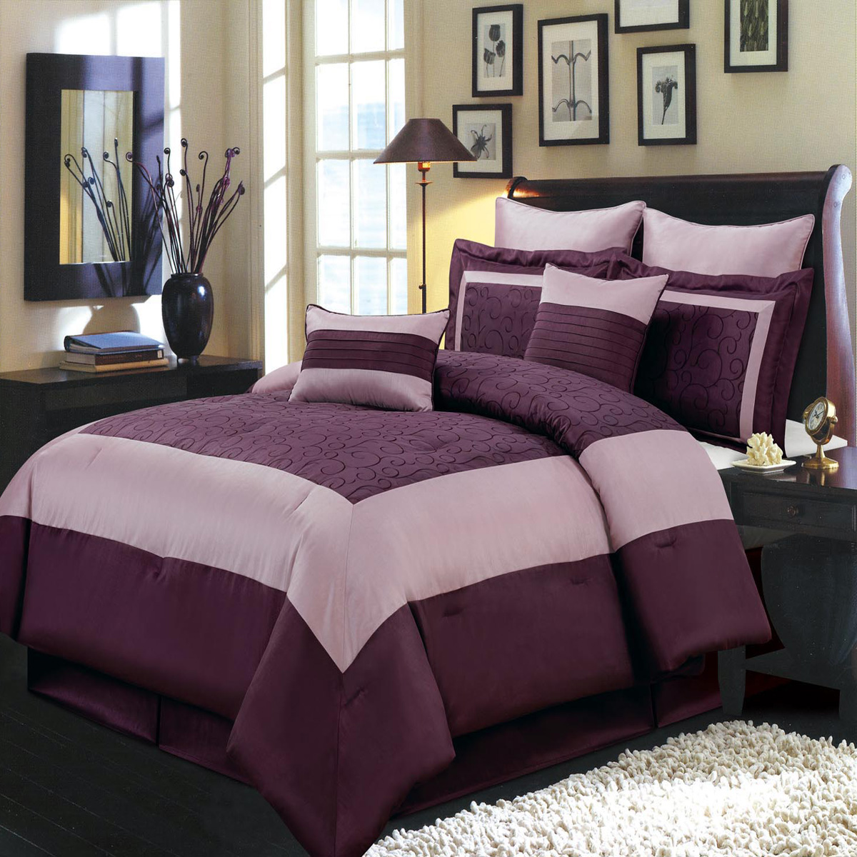 Elegant Wendy Purple 8-PC Bed in a Bag 100% Polyster Bedding Set