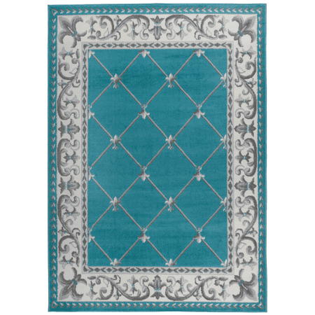 Antep Rugs Kashan King Collection EPHESUS Checkered Polypropylene Indoor Area Rug Blue and Gray 8' X 10'