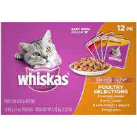 (12 Pack) WHISKAS CHOICE CUTS Poultry Selections Variety Pack Wet Cat Food, 3 oz. Pouches