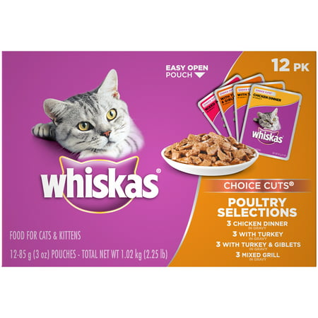 (12 Pack) Whiskas Choice Cuts Poultry Selections Variety Pack Wet Cat Food, 3 oz.