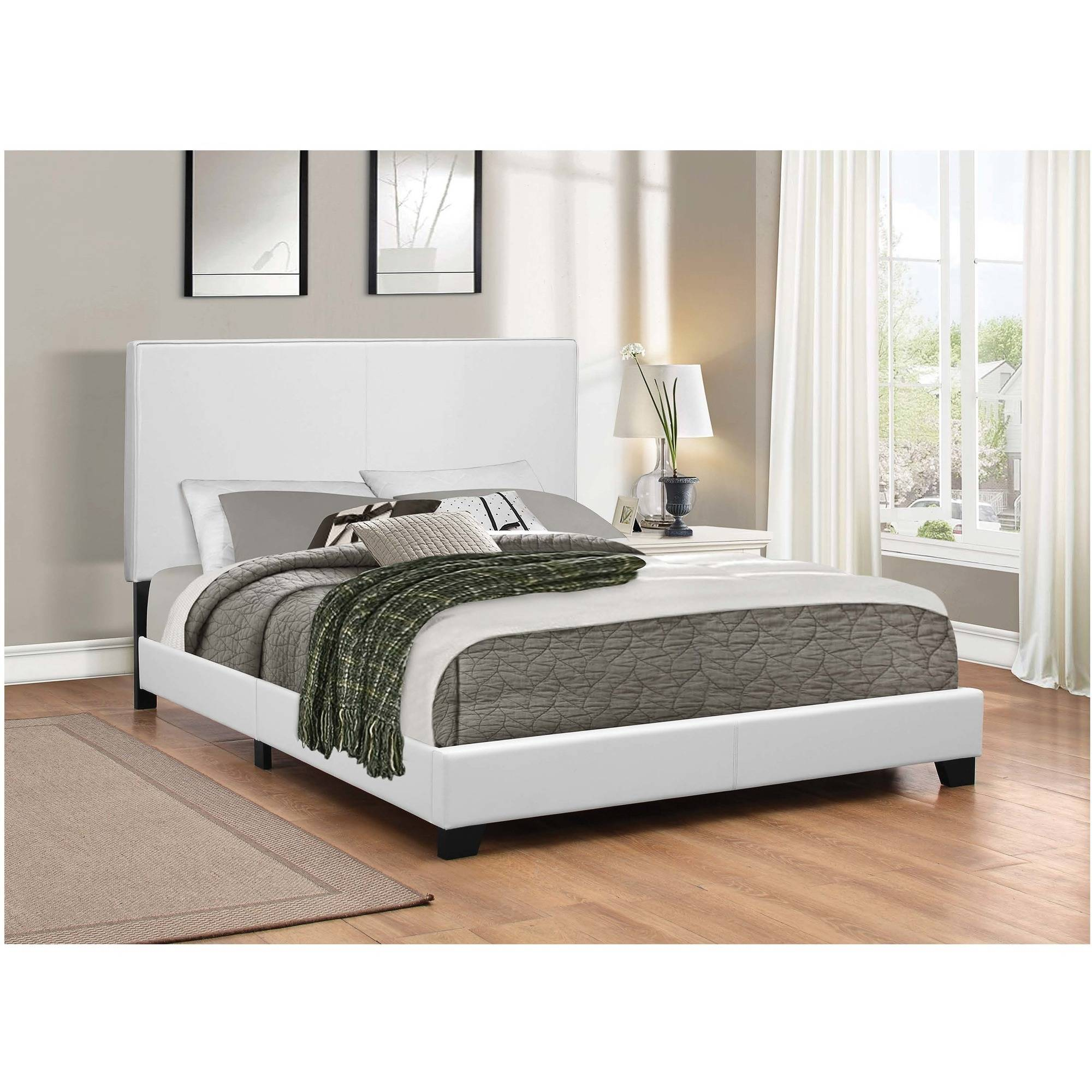 Coaster Company Mauve Upholstered Queen Bed, White Leatherette