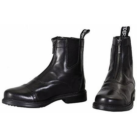 Front Zip Boots - TuffRider Men's Barouque Front Zip Paddock Boots with Metal Zipper, Black, 85