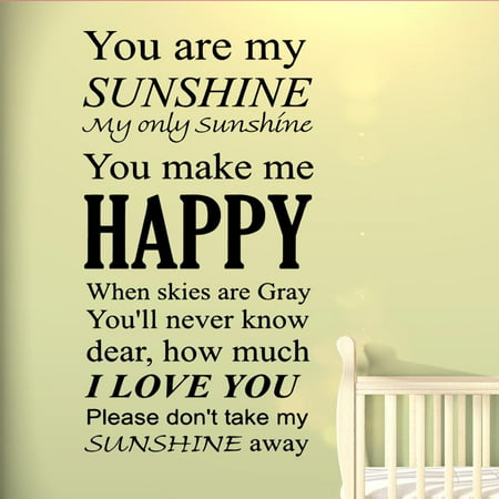 VWAQ You Are My Sunshine Wall Art Vinyl Decal Nursery Wall Quotes Large Kids Room Sayings Babys Room Angel Stickers Big Murals](Halloween Sayings Kids)