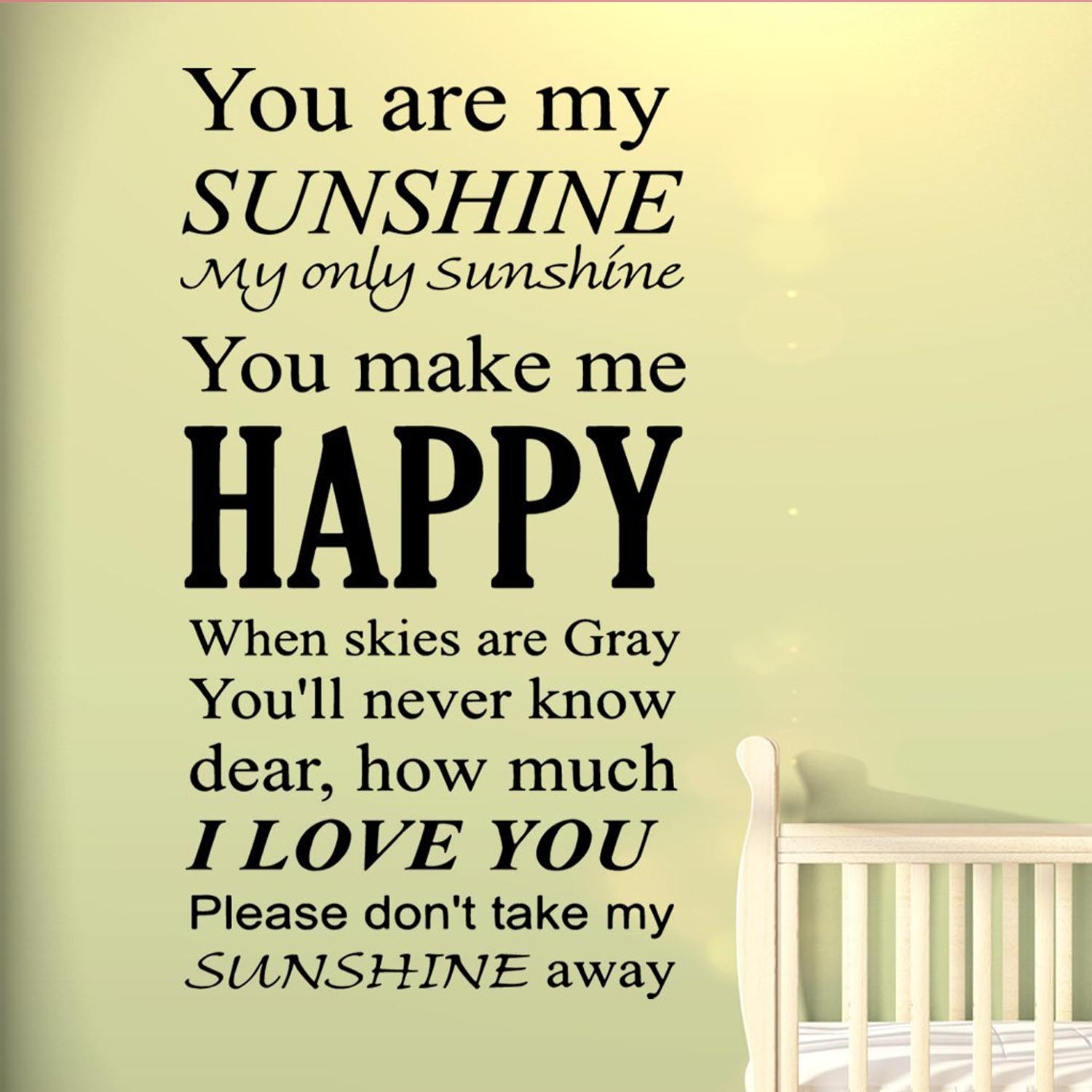 VWAQ You Are My Sunshine Wall Art Vinyl Decal Nursery Wall Quotes Large Kids Room Sayings Babys Room Angel Stickers Big Murals