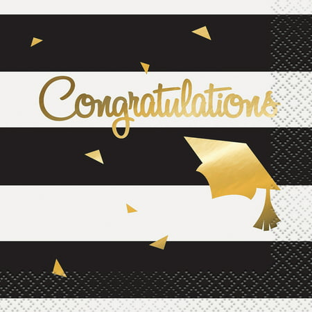 Foil Congratulations Graduation Paper Cocktail Napkins, 5 in, 16ct - Black And Gold Graduation