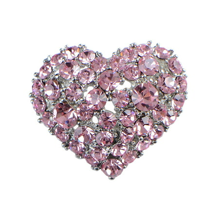 Crystal Rhinestone Valentine Heart Love Brooch Pin