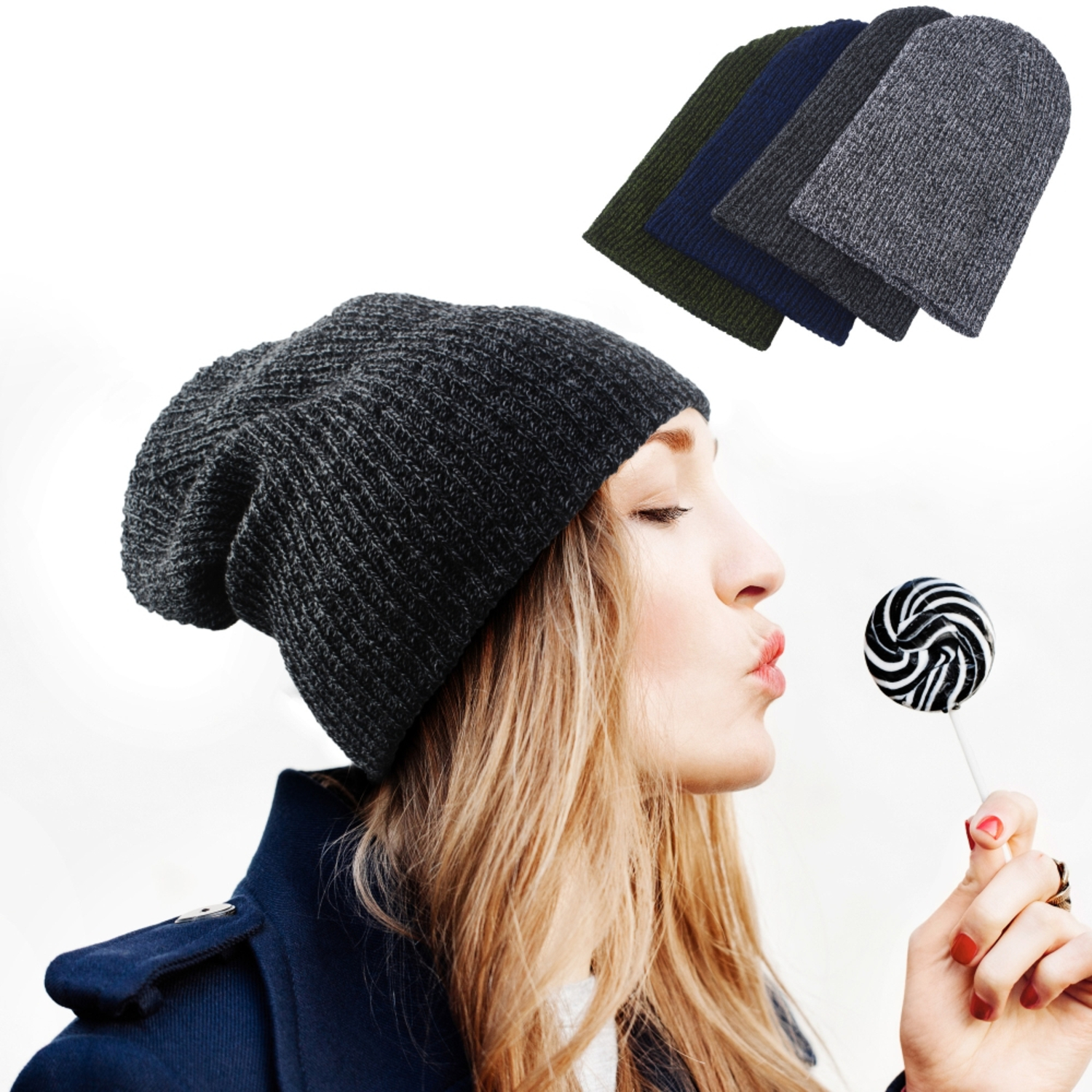 Zodaca Winter Women Men Knitted Ski Baggy Slouch Hat Unisex Cap Beanie Hip-Hop Warm Hats
