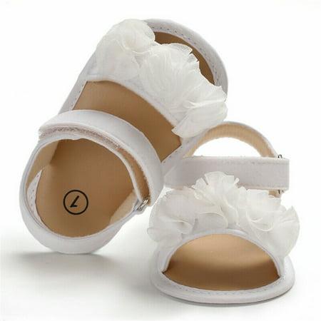 Newborn Kid Baby Girl Flower Sandals Summer Casual Crib Shoes First Prewalker White 0-6 Months ()
