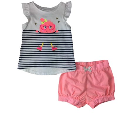 Infant Girls Neon Pink Nerdy Hipster Monster & Stripes Outfit 2 Piece Set