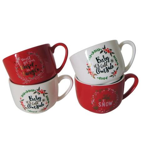 4 Latte Cups - Mainstays Holiday Sayings Latte Mug, 4 Pack