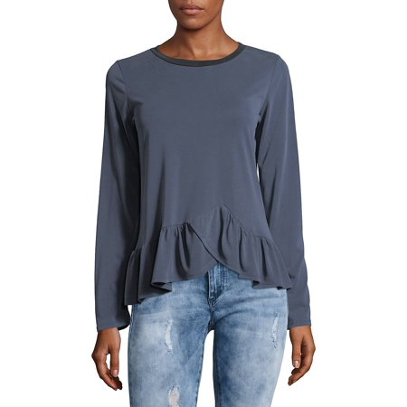 Ruffled Asymmetric Hem Top
